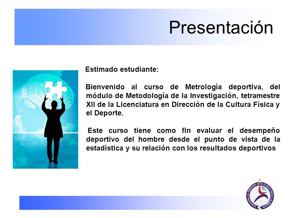 Presentación Estimado estudiante: Bienvenido al curso de Metrología deportiva, del módulo de Metodología de la Investigación, tetramestre XII de la Li