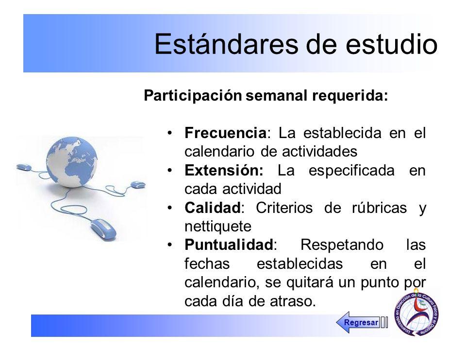 Estándares de estudio Participación semanal requerida: Frecuencia: La establecida en el calendario de actividades Extensión: La especificada en cada a