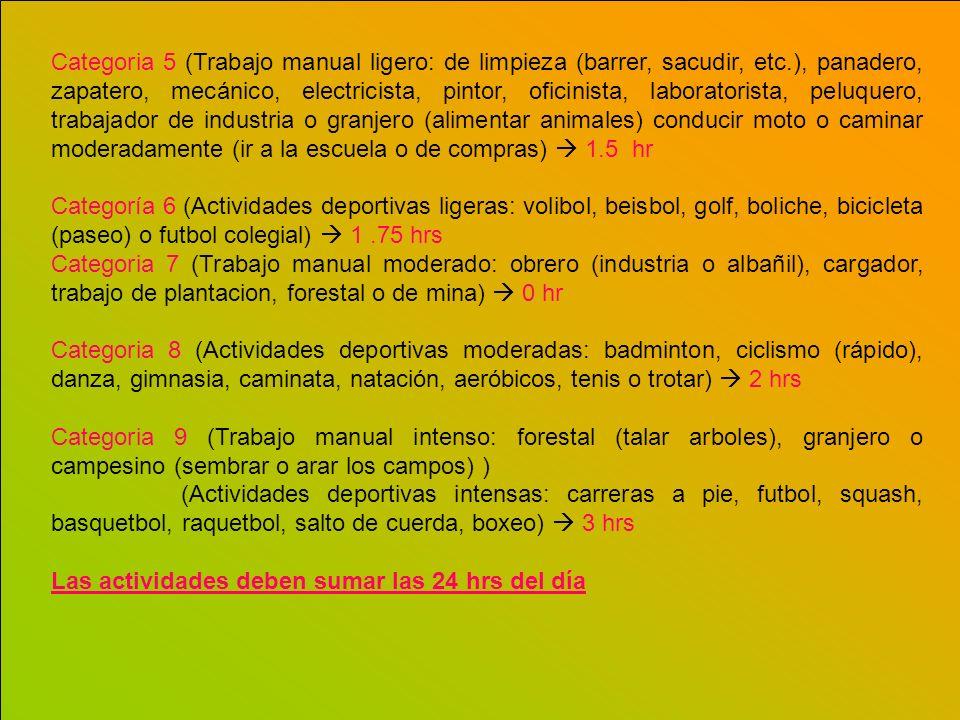 Categoria 5 (Trabajo manual ligero: de limpieza (barrer, sacudir, etc.), panadero, zapatero, mecánico, electricista, pintor, oficinista, laboratorista