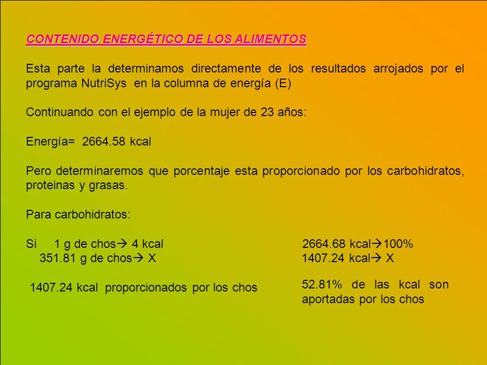 CONTENIDO ENERGÉTICO DE LOS ALIMENTOS Esta parte la determinamos directamente de los resultados arrojados por el programa NutriSys en la columna de en