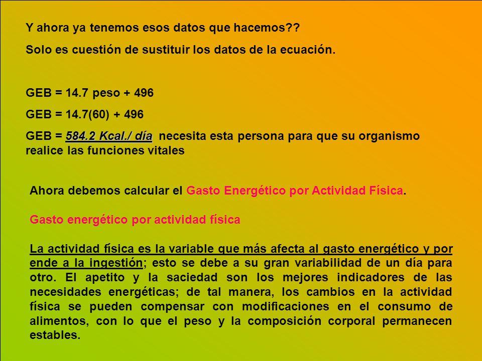 Y ahora ya tenemos esos datos que hacemos?? Solo es cuestión de sustituir los datos de la ecuación. GEB = 14.7 peso + 496 GEB = 14.7(60) + 496 584.2 K