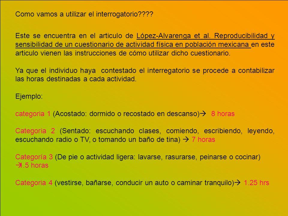 Como vamos a utilizar el interrogatorio???? Este se encuentra en el articulo de López-Alvarenga et al. Reproducibilidad y sensibilidad de un cuestiona