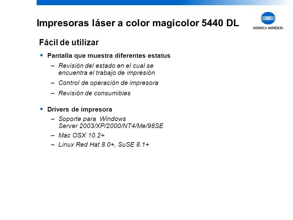 13 KONICA MINOLTA Confidential Impresoras láser a color magicolor 5440 DL Pantalla que muestra diferentes estatus –Revisión del estado en el cual se encuentra el trabajo de impresión –Control de operación de impresora –Revisión de consumibles Drivers de impresora –Soporte para Windows Server 2003/XP/2000/NT4/Me/98SE –Mac OSX 10.2+ –Linux Red Hat 8.0+, SuSE 8.1+ Fácil de utilizar