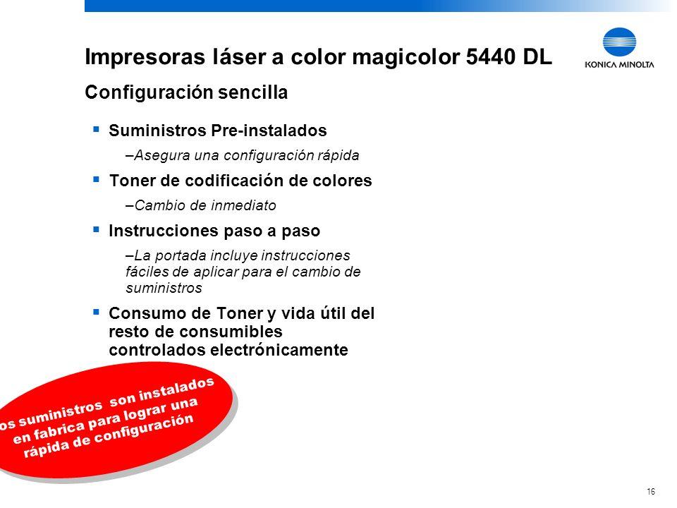16 KONICA MINOLTA Confidential Impresoras láser a color magicolor 5440 DL Suministros Pre-instalados –Asegura una configuración rápida Toner de codifi