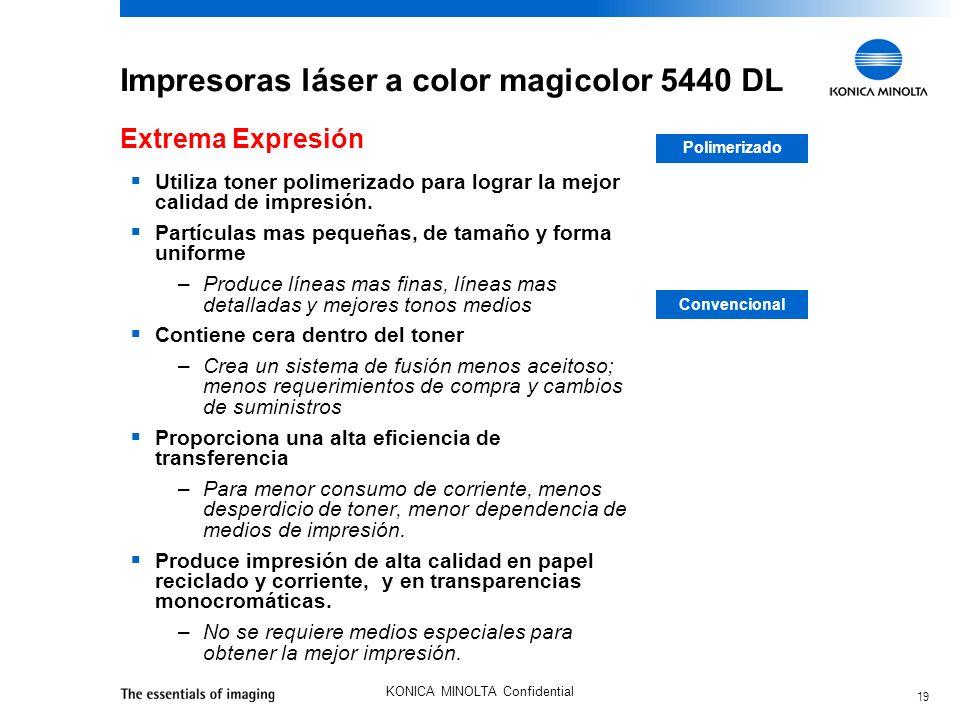 19 KONICA MINOLTA Confidential Impresoras láser a color magicolor 5440 DL Utiliza toner polimerizado para lograr la mejor calidad de impresión. Partíc