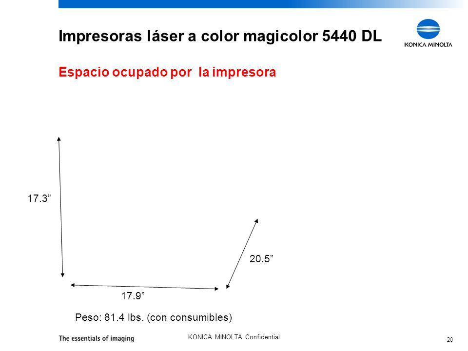 20 KONICA MINOLTA Confidential Impresoras láser a color magicolor 5440 DL Peso: 81.4 lbs. (con consumibles) 17.9 17.3 20.5 Espacio ocupado por la impr