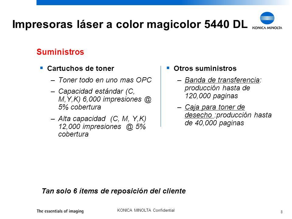 8 KONICA MINOLTA Confidential Impresoras láser a color magicolor 5440 DL Cartuchos de toner –Toner todo en uno mas OPC –Capacidad estándar (C, M,Y,K)