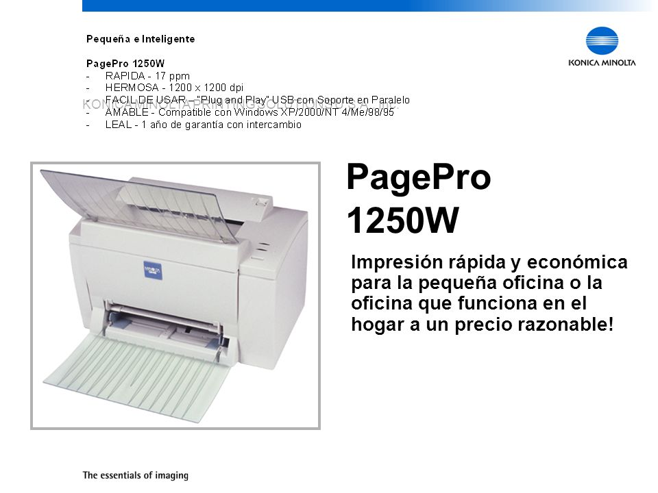 KONICA MINOLTA PRINTING SOLUTIONS U.S.A., Inc. PagePro 1250W Impresión rápida y económica para la pequeña oficina o la oficina que funciona en el hoga