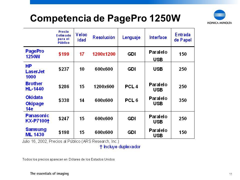 11 Todos los precios aparecen en Dólares de los Estados Unidos Competencia de PagePro 1250W