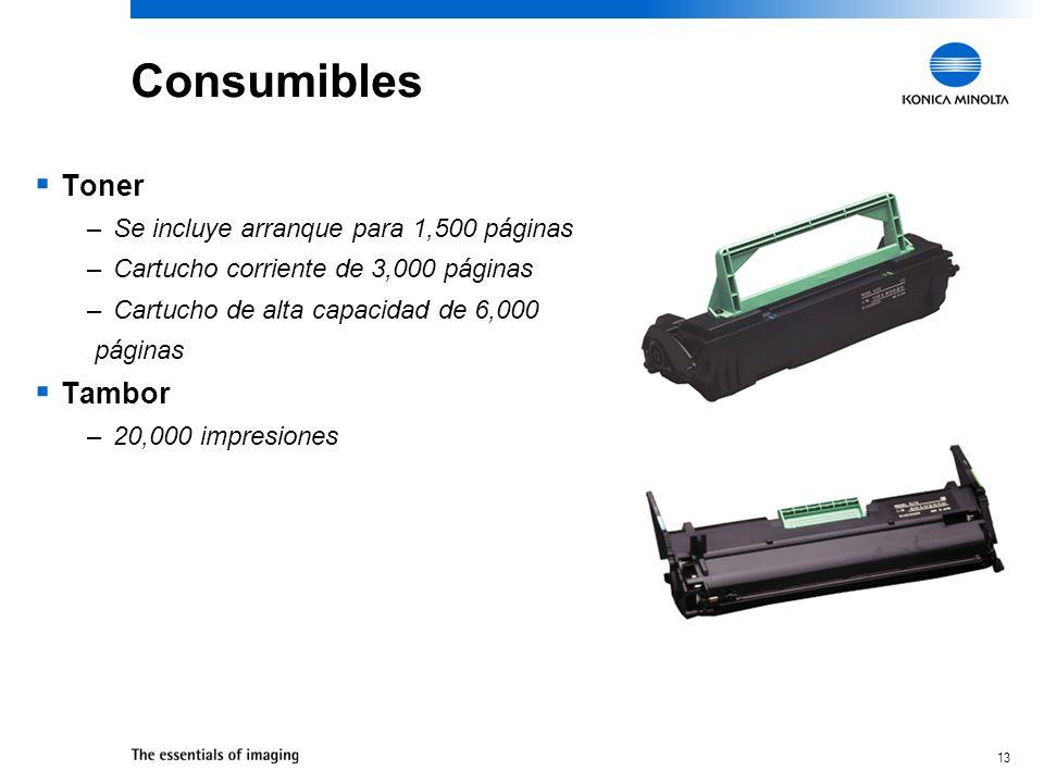 13 Consumibles Toner –Se incluye arranque para 1,500 páginas –Cartucho corriente de 3,000 páginas –Cartucho de alta capacidad de 6,000 páginas Tambor