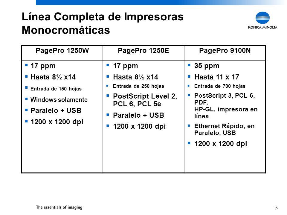 15 Línea Completa de Impresoras Monocromáticas PagePro 1250WPagePro 1250EPagePro 9100N 17 ppm Hasta 8½ x14 Entrada de 150 hojas Windows solamente Para