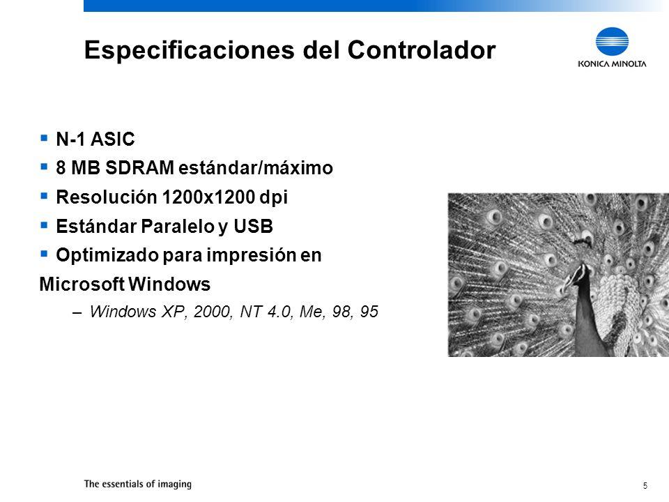 5 N-1 ASIC 8 MB SDRAM estándar/máximo Resolución 1200x1200 dpi Estándar Paralelo y USB Optimizado para impresión en Microsoft Windows –Windows XP, 200