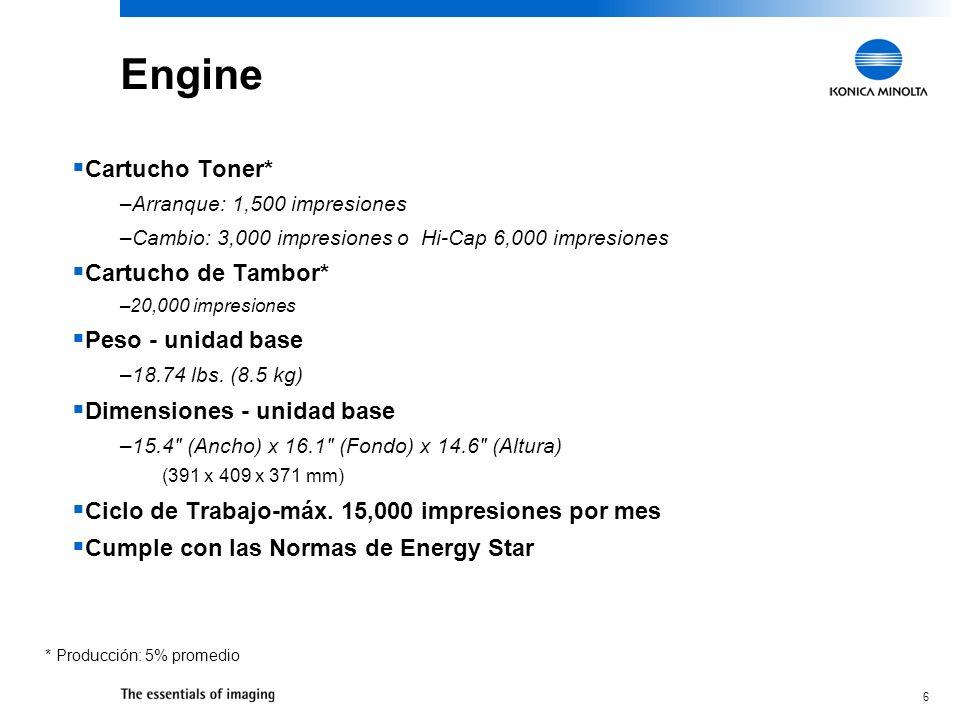 6 Engine Cartucho Toner* –Arranque: 1,500 impresiones –Cambio: 3,000 impresiones o Hi-Cap 6,000 impresiones Cartucho de Tambor* –20,000 impresiones Pe