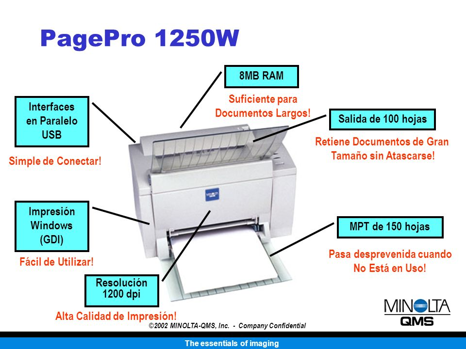 The essentials of imaging ©2002 MINOLTA-QMS, Inc. - Company Confidential PagePro 1250W MPT de 150 hojas Salida de 100 hojas Impresión Windows (GDI) In