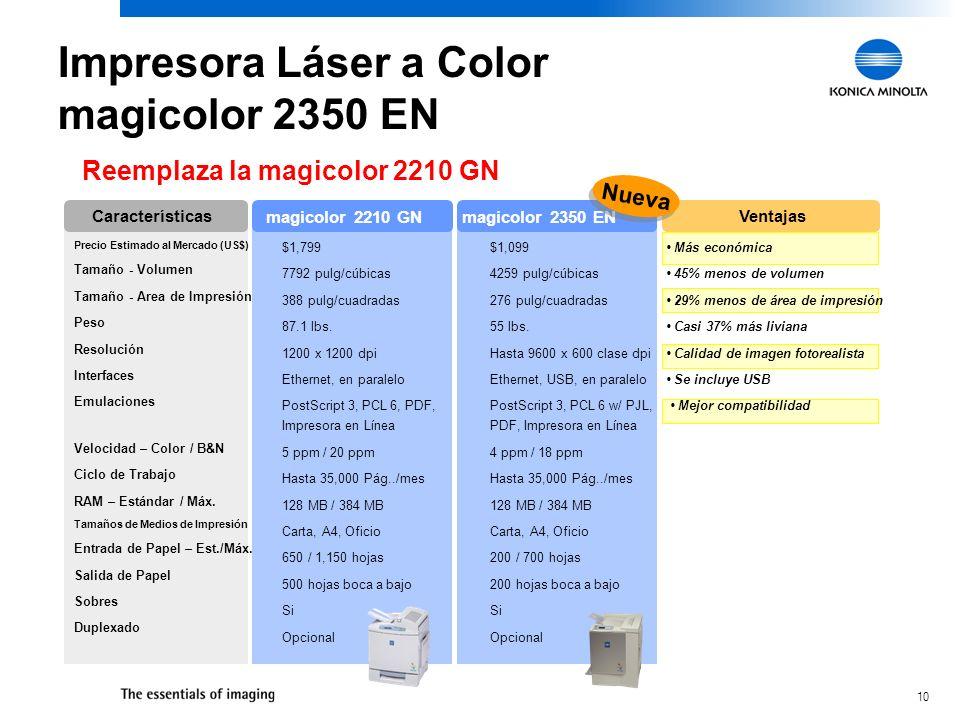 10 Reemplaza la magicolor 2210 GN Precio Estimado al Mercado (US$) Tamaño - Volumen Tamaño - Area de Impresión Peso Resolución Interfaces Emulaciones