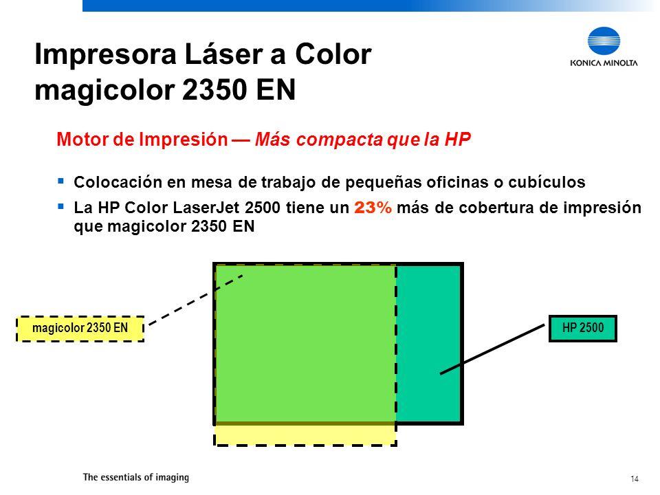 14 HP 2500 magicolor 2350 EN Motor de Impresión Más compacta que la HP Colocación en mesa de trabajo de pequeñas oficinas o cubículos La HP Color Lase