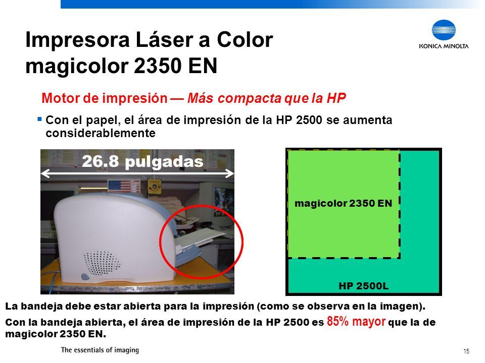 15 Con el papel, el área de impresión de la HP 2500 se aumenta considerablemente 26.8 pulgadas HP 2500L magicolor 2350 EN Motor de impresión Más compa