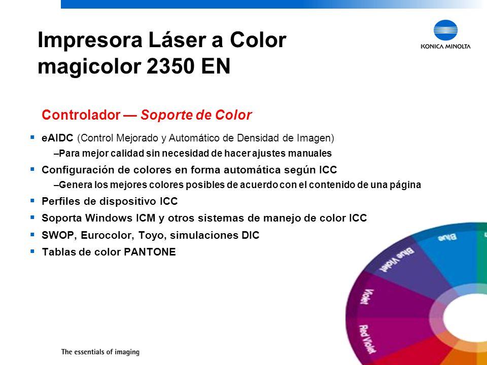19 Impresora Láser a Color magicolor 2350 EN eAIDC (Control Mejorado y Automático de Densidad de Imagen) –Para mejor calidad sin necesidad de hacer aj