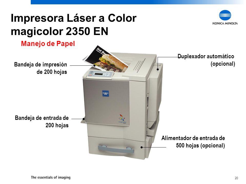 20 Manejo de Papel Duplexador automático (opcional) Bandeja de entrada de 200 hojas Bandeja de impresión de 200 hojas Alimentador de entrada de 500 ho