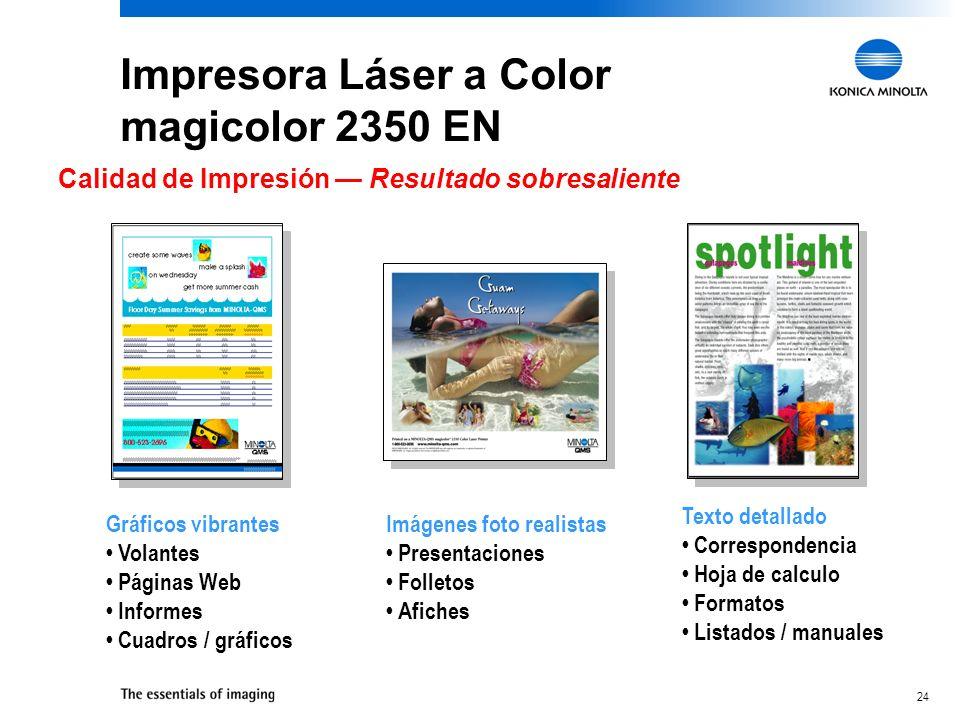 24 Impresora Láser a Color magicolor 2350 EN Calidad de Impresión Resultado sobresaliente Imágenes foto realistas Presentaciones Folletos Afiches Gráf