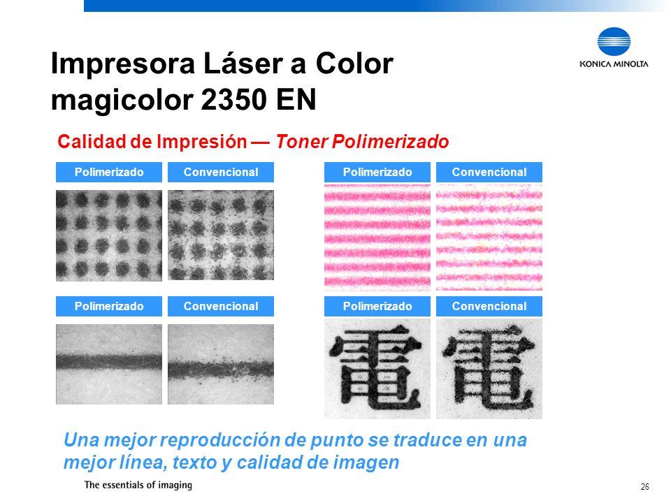 26 Impresora Láser a Color magicolor 2350 EN Calidad de Impresión Toner Polimerizado PolimerizadoConvencional PolimerizadoConvencional PolimerizadoCon