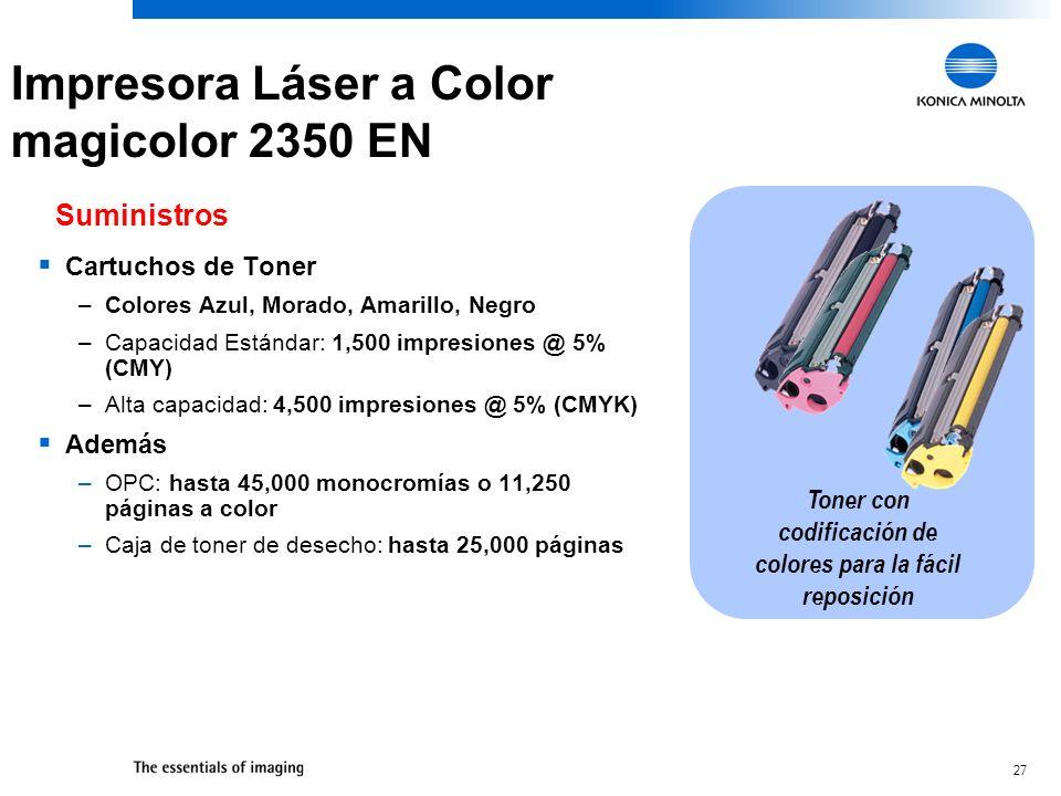 27 Cartuchos de Toner –Colores Azul, Morado, Amarillo, Negro –Capacidad Estándar: 1,500 impresiones @ 5% (CMY) –Alta capacidad: 4,500 impresiones @ 5%
