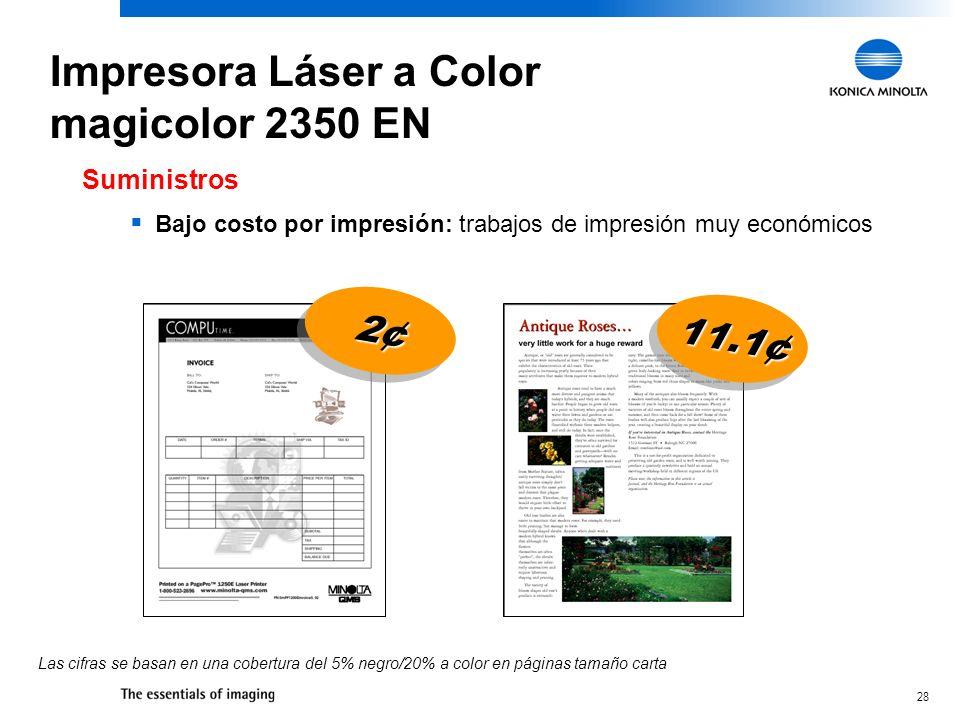 28 Bajo costo por impresión: trabajos de impresión muy económicos Suministros Las cifras se basan en una cobertura del 5% negro/20% a color en páginas