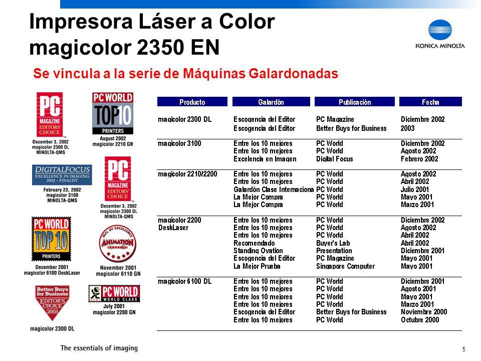 5 Se vincula a la serie de Máquinas Galardonadas Impresora Láser a Color magicolor 2350 EN