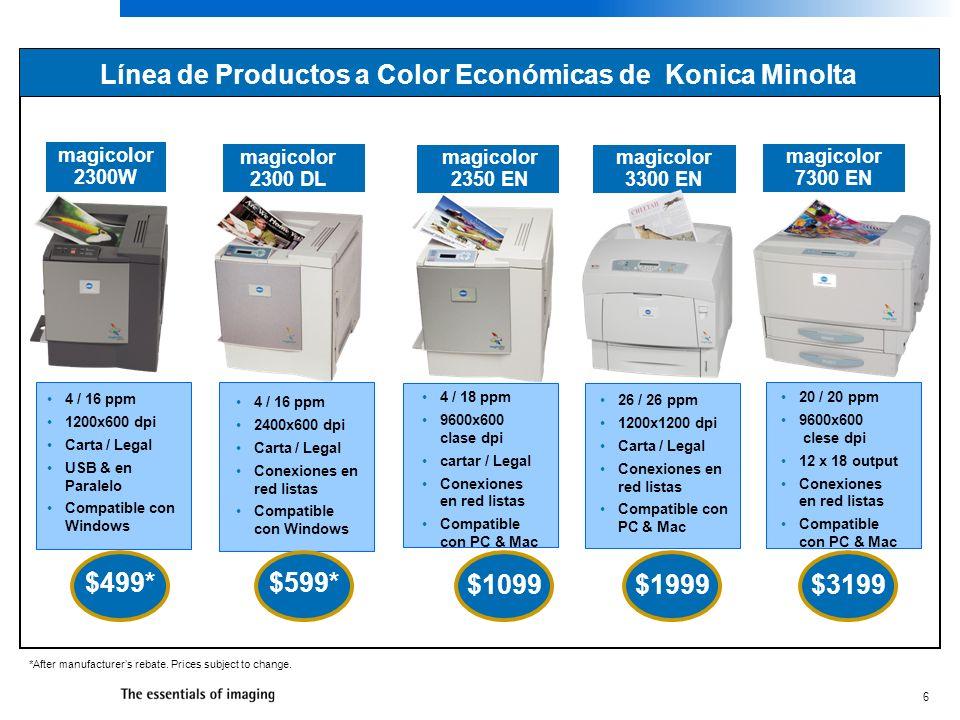 6 Línea de Productos a Color Económicas de Konica Minolta magicolor 2300 DL *After manufacturers rebate. Prices subject to change. 4 / 16 ppm 1200x600