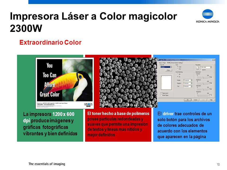 10 Extraordinario Color La impresora 1200 x 600 dpi produce imágenes y gráficas fotográficas vibrantes y bien definidas El toner hecho a base de polímeros posee partículas redondeadas y suaves que permite una impresión de textos y líneas más nítidos y mejor definidos El driver trae controles de un solo botón para los archivos de colores adecuados de acuerdo con los elementos que aparecen en la página Impresora Láser a Color magicolor 2300W