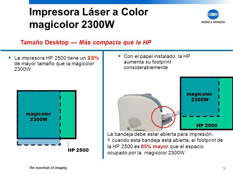 12 Con el papel instalado, la HP aumenta su footprint considerablemente Tamaño Desktop Más compacta que la HP La impresora HP 2500 tiene un 23% de mayor tamaño que la magicolor 2300W HP 2500 magicolor 2300W La bandeja debe estar abierta para impresión.