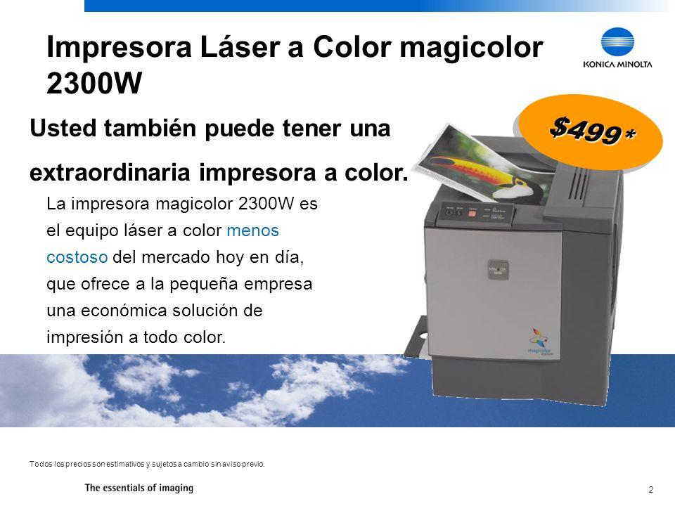 13 Color 4ppm Blanco y Negro 16ppm USB, en Paralelo Tamaño Carta/Oficio Color 4ppm Blanco y Negro 16ppm USB, en Paralelo Tamaño Carta/Oficio El espacio del footprint es menor Transparencias a color Trabaja con duplexado automático La capacidad de entrada es de 200 hojas estándar 19 de ancho y utiliza más capacidad de desktop Solo para transparencias de escala gris (sin colores) No hay duplexado automático Trabaja con solo 125 hojas Esto quiere decir que hay mucho más que un nivel de entrada por 33% menos de costo.
