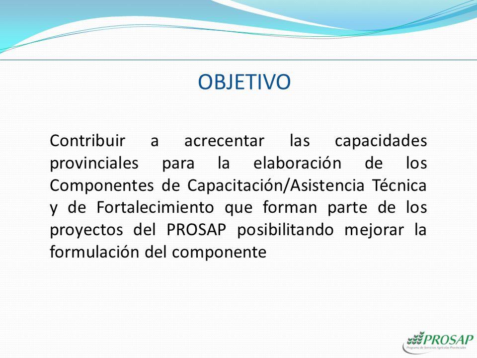 OBJETIVO Contribuir a acrecentar las capacidades provinciales para la elaboración de los Componentes de Capacitación/Asistencia Técnica y de Fortalecimiento que forman parte de los proyectos del PROSAP posibilitando mejorar la formulación del componente