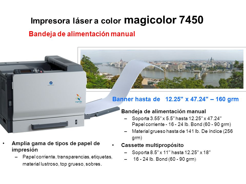 Impresora láser a color magicolor 7450 Bandeja de alimentación manual –Soporta 3.55