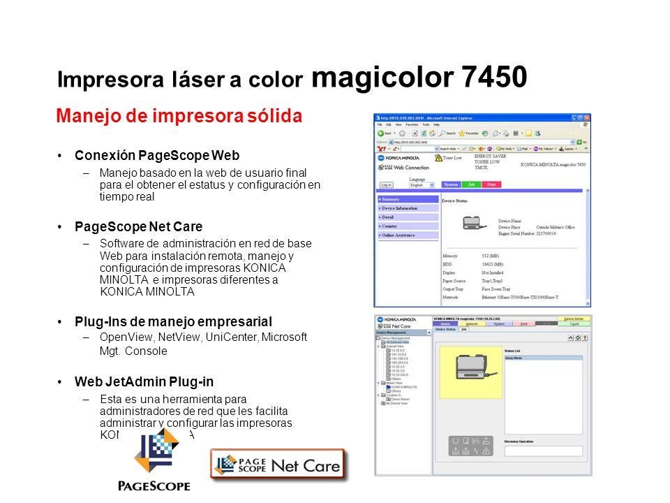 Impresora láser a color magicolor 7450 Conexión PageScope Web –Manejo basado en la web de usuario final para el obtener el estatus y configuración en