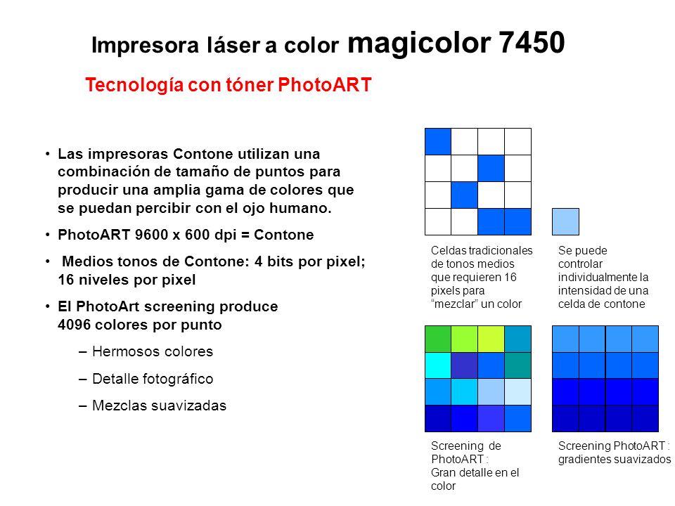 Impresora láser a color magicolor 7450 Celdas tradicionales de tonos medios que requieren 16 pixels para mezclar un color Se puede controlar individua