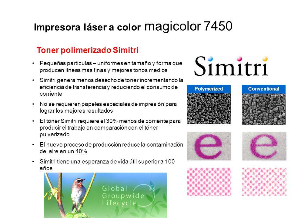 Impresora láser a color magicolor 7450 Pequeñas partículas – uniformes en tamaño y forma que producen líneas mas finas y mejores tonos medios Simitri