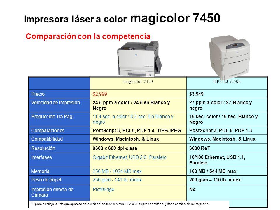 Impresora láser a color magicolor 7450 magicolor 7450HP CLJ 5550n Precio$2,999$3,549 Velocidad de impresión24.5 ppm a color / 24.5 en Blanco y Negro 2