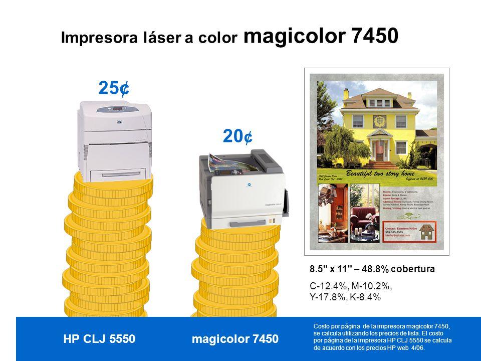 Impresora láser a color magicolor 7450 HP CLJ 5550magicolor 7450 8.5