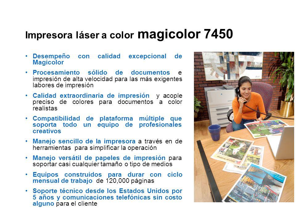 Impresora láser a color magicolor 7450 Desempeño con calidad excepcional de Magicolor Procesamiento sólido de documentos e impresión de alta velocidad