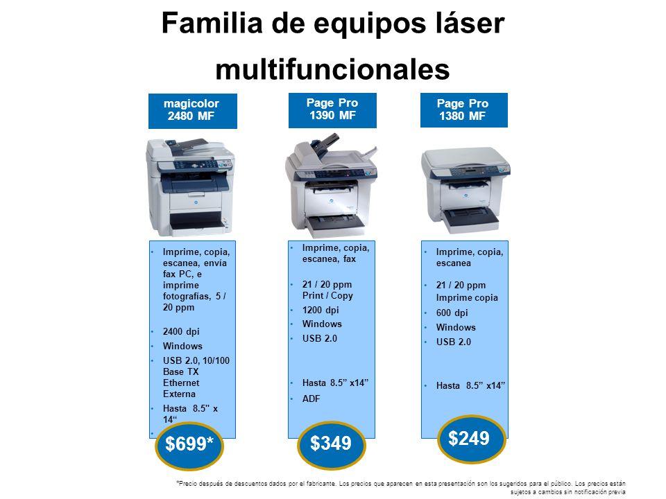 Familia de equipos láser multifuncionales Page Pro 1380 MF $249 magicolor 2480 MF Page Pro 1390 MF Imprime, copia, escanea, envía fax PC, e imprime fo
