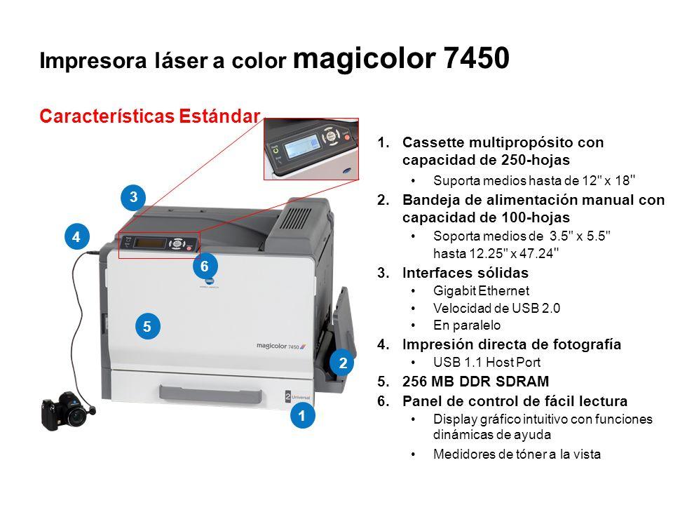 Impresora láser a color magicolor 7450 Características Estándar 1.Cassette multipropósito con capacidad de 250-hojas Suporta medios hasta de 12