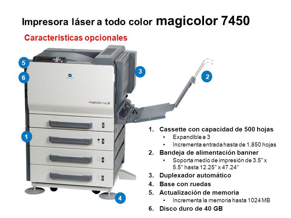 Impresora láser a todo color magicolor 7450 1.Cassette con capacidad de 500 hojas Expandible a 3 Incrementa entrada hasta de 1,850 hojas 2.Bandeja de