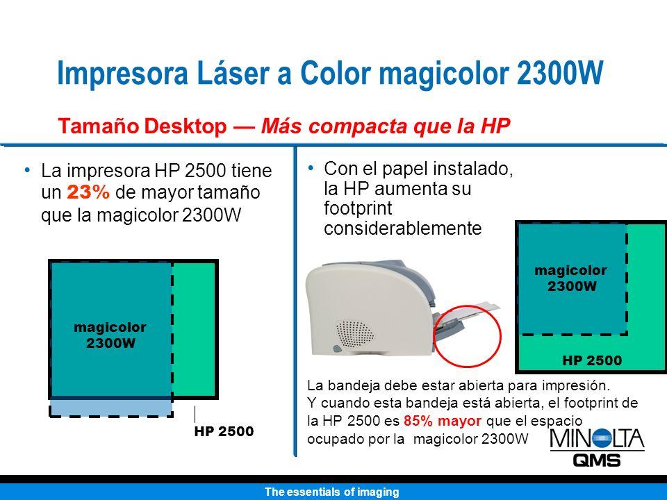 The essentials of imaging Color 4ppm Blanco y Negro 16ppm USB, en Paralelo Tamaño Carta/Oficio Color 4ppm Blanco y Negro 16ppm USB, en Paralelo Tamaño Carta/Oficio El espacio del footprint es menor Transparencias a color Trabaja con duplexado automático La capacidad de entrada es de 200 hojas estándar 19 de ancho y utiliza más capacidad de desktop Solo para transparencias de escala gris (sin colores) No hay duplexado automático Trabaja con solo 125 hojas Esto quiere decir que hay mucho más que un nivel de entrada por 33% menos de costo.