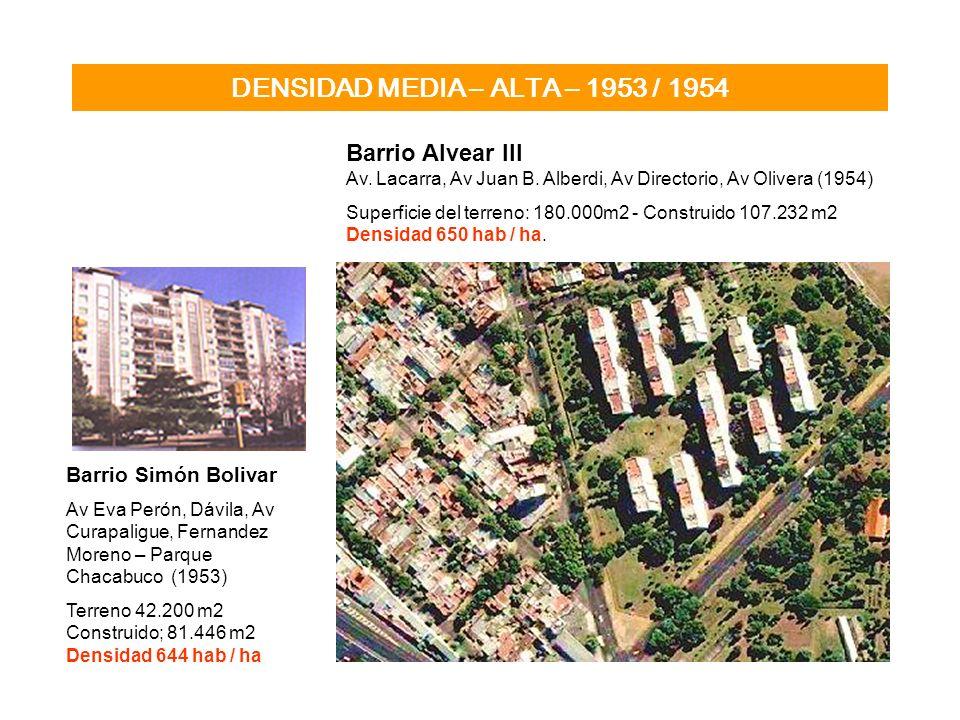 DENSIDAD MEDIA – ALTA – 1953 / 1954 Barrio Alvear III Av. Lacarra, Av Juan B. Alberdi, Av Directorio, Av Olivera (1954) Superficie del terreno: 180.00