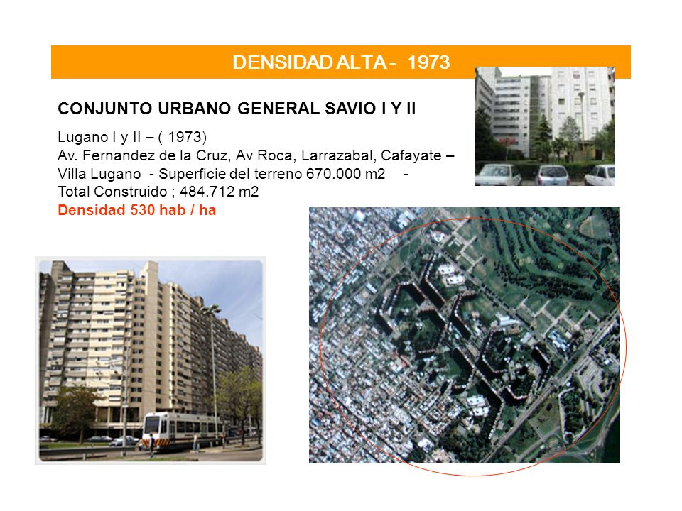 DENSIDAD ALTA - 1973 CONJUNTO URBANO GENERAL SAVIO I Y II Lugano I y II – ( 1973) Av. Fernandez de la Cruz, Av Roca, Larrazabal, Cafayate – Villa Luga