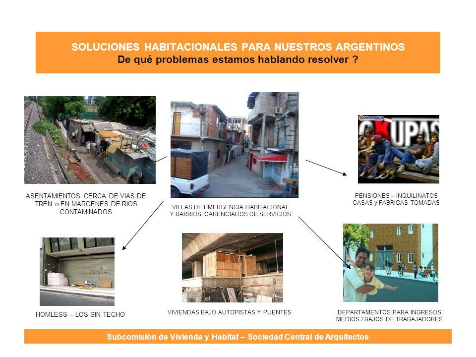 SOLUCIONES HABITACIONALES PARA NUESTROS ARGENTINOS De qué problemas estamos hablando resolver ? Subcomisión de Vivienda y Habitat – Sociedad Central d