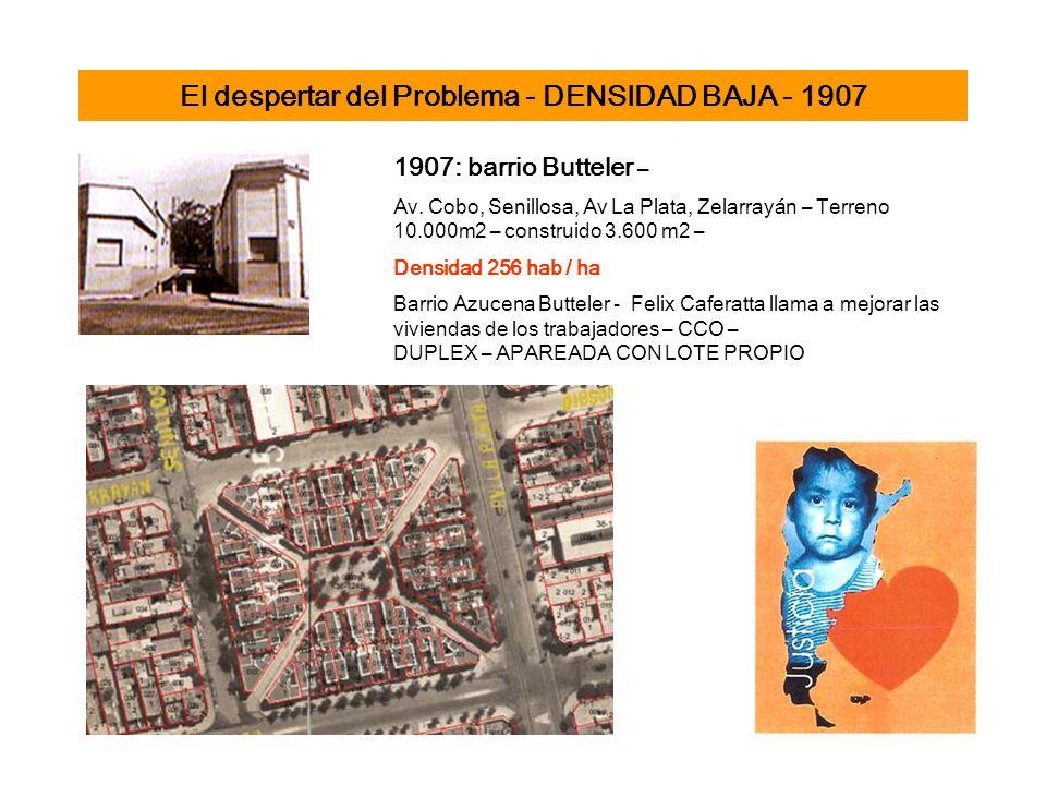 El despertar del Problema - DENSIDAD BAJA - 1907 1907: barrio Butteler – Av. Cobo, Senillosa, Av La Plata, Zelarrayán – Terreno 10.000m2 – construido