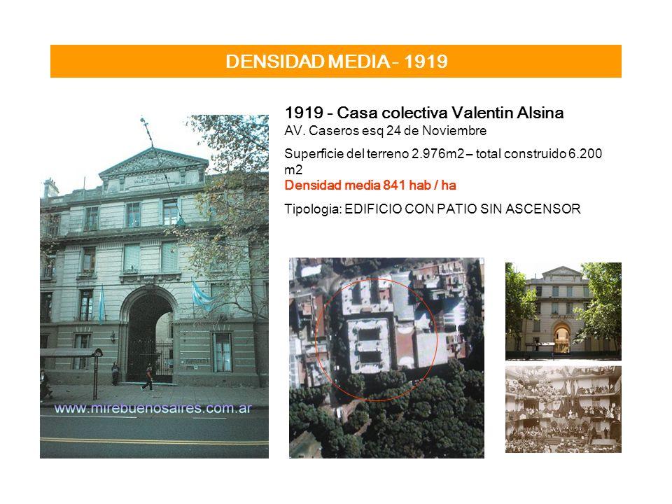 DENSIDAD MEDIA - 1919 1919 - Casa colectiva Valentin Alsina AV. Caseros esq 24 de Noviembre Superficie del terreno 2.976m2 – total construido 6.200 m2