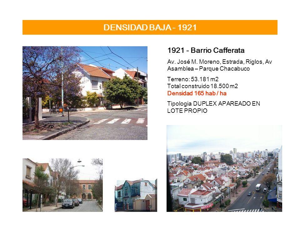 DENSIDAD BAJA - 1921 1921 - Barrio Cafferata Av. José M. Moreno, Estrada, Riglos, Av Asamblea – Parque Chacabuco Terreno: 53.181 m2 Total construido 1